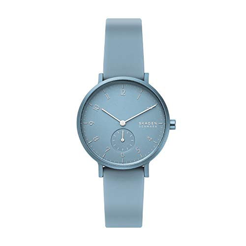 Skagen Men's Annelie Quartz Silicone Watch, Color: Light Blue, 36(Model: SKW2764)