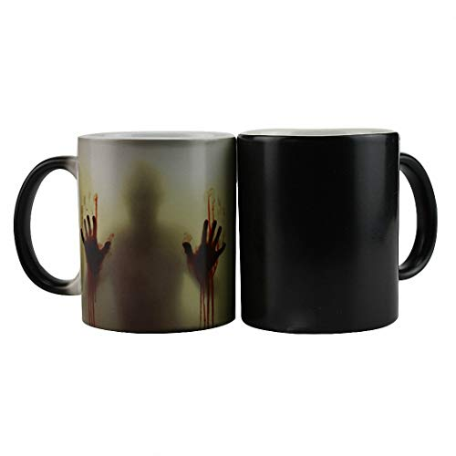 Telihome Taza de Cambio de Color Sensible al Calor los Muertos vivientes de Taza de cerámica Regalo Sorpresa de Halloween