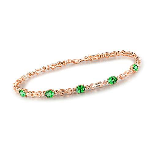 AnazoZ Pulsera Tsavorita Mujer,Pulseras Oro Rosa Mujer 18Kilates Oro Rosa Verde Oval Tsavorita Verde 1.77ct Diamante 0.62ct