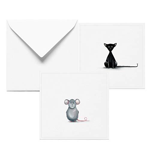 Katze und Maus Grußkarte - Geburtstagskarte lustig - 2 er Set mit Umschlag - Geburtstag Geburtstagskarten Glückwunschkarte Grußkarte Geschenkkarte