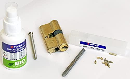 Tivoly 82400170001 - Juego especial de destructor de cerradura, broca de carburo de carburo corto, diámetro 6 mm, aceite de corte, llave de maniobra, color gris