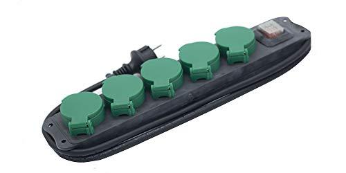 Prendeluz - Base (5 tomas) antihumedad para exterior. Base de superficie 16A/250V max. 3680W