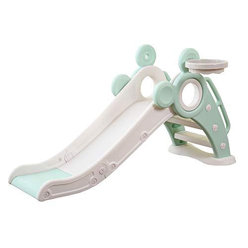 SSZZ Tobogán para Niños Interior Plegable Independiente Escalador Parque De Juegos para Bebés con Pendiente Deslizante Extra Larga Y Aro De Baloncesto,Verde