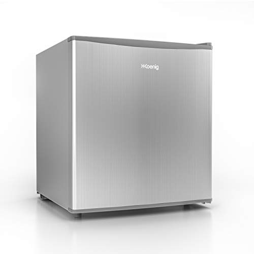 H.Koenig Mini-Kühlschrank FGX490 / 46 L/freistehend/Energieklasse A+ / kleine kompakte Größe 51cm / leise / 4L Eisfach/verstellbares Thermostat/Türanschlag wechselbar, Weiß