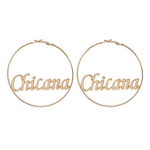 Oyrcvweuy 1 par de pendientes redondos de aro para mujer, diseño de círculo, para bebé, chicana, chica, mujer
