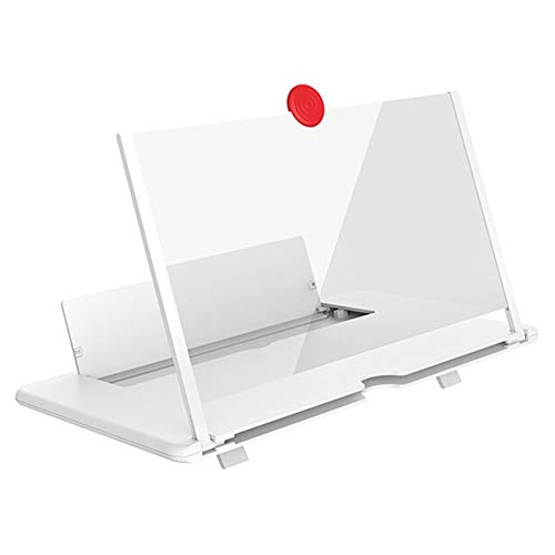 FYYONG Amplificadores de vídeo de Alta definición de 12 Pulgadas Pantalla del teléfono Celular Plegable Lupa 3D, proyectores Lupa Titular del teléfono Inteligente (Color : White)