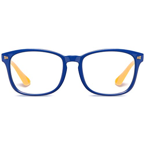 DUCO TR90 Frame Blue Light Blocking Glasses for Kids Anti-Glare Gaming Computer Glasses Eyeglasses for Boys and Girls Age 5-10 K028 (Blue Frame Yellow Temple)