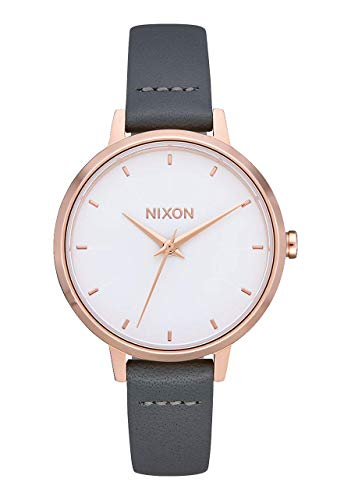 NIXON Medium Kensington Leather A1261 - Rose Gold/Gray - 50m Water Resistant Women's Analog Classic Watch (32mm Watch Face, 12mm Leather Band)