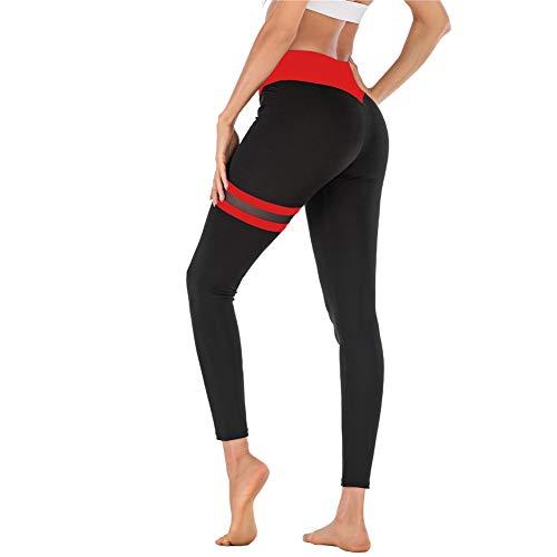 SotRong - Mallas para mujer, cintura alta, pantalones de yoga, sin costuras, con malla Patchwok Rojo Cintura roja. M