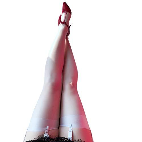 VIccoo Calcetines Largos de Nailon ultradelgados eróticos para Mujer 5D Banda Ancha Patchwork Pura sobre la Rodilla Muslo Medias Altas Aceite Brillo Brillo Lencería Vintage - Blanco