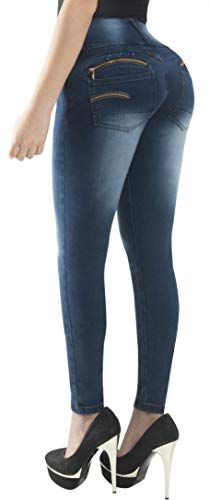 Fiorella Shapewear Butt Lifter Women Jeans High Rise Waist Push Up Levanta Cola Pantalones Colombianos 504DB Dark Blue Size 7 USA / 12 COL