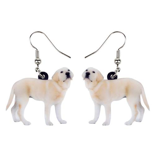 NA - Pendientes de perro labrador de pie, acrílico, con diseño de gota