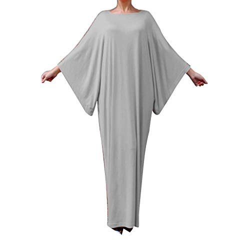 Lazzboy Ramadan Women Prayer Batwing Sleeve Abaya Muslim Islamic Dress Arab Robe Clothes(Beige,M)