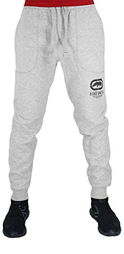 Ecko Men's Designer Cotton Jogger Tracksuit Sweatpants, Black, Charcoal, Grey, 3XL, 4XL, 5XL (XXX-Large, Grey)