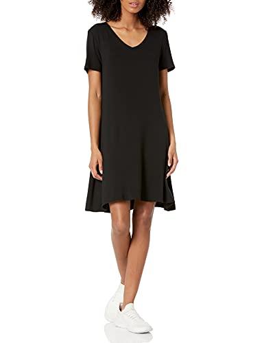 Amazon Essentials Damen Short-sleeve V-neck Swing Kleid, schwarz, XS