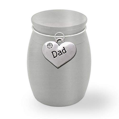 "PhotoJewelryMaking Small Mini Size Dad Father Memorial Ashes Holder Container Jar Vial Brushed Stainless Steel Cremation Funeral Urn 1 1/2"" Tall"