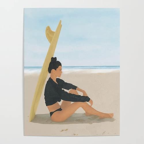 MBOQIAN Pintar por Numeros Adultos, Sombra de Tabla de Surf DIY Pintura por números con Pinceles y Pinturas Decoraciones para el Hogar 40x50cmSin Marco