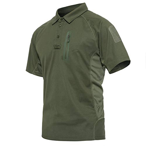 CRYSULLY Male Summer Safari Fatigue Outdoors Polo Shirt Stylish Classic Climbing Sailing Field Woodland T-Shirt Army Green