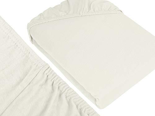 npluseins klassisches Jersey Spannbetttuch – erhältlich in 34 modernen Farben und 6 verschiedenen Größen – 100% Baumwolle, 70 x 140 cm, naturweiß - 3