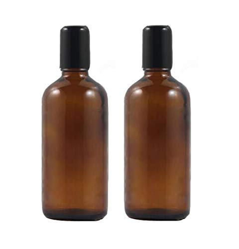 2PCS 100ML Upscale Empty Refillable Amber Glass Roll on Bottles Essential Oil Perfume Roller Bottles with Stainless Steel Roller Ball and Black Cap Attar Bottle