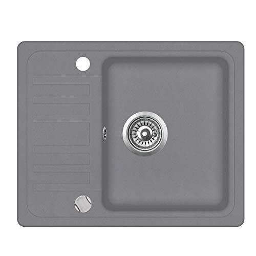 Granit Einbauspüle Küchenspüle Spülbecken Spüle mit Abtropffläche silber 57,5 x 46 cm