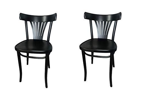 Satz von 2 Stühlen Massivholz-Esszimmerstühle, Küchenstuhl, Holzstuhl Gastro Quality (Farbe schwarz) Fameg Made in Europe, Klassisches Design, Sorgfältige Verarbeitung. Polnische Produktion.