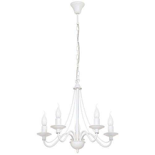Kronleuchter Metall Pendellampe Weiß 5-flammig E14 Rustikal opulent Esstisch Lampe Wohnzimmer Pendelleuchte