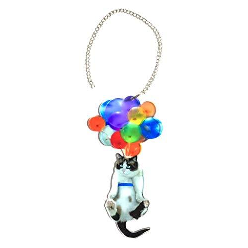 kesoto Cat Balloon Specchietto Retrovisore Appeso Ciondolo Corona Accessori Ornamentali