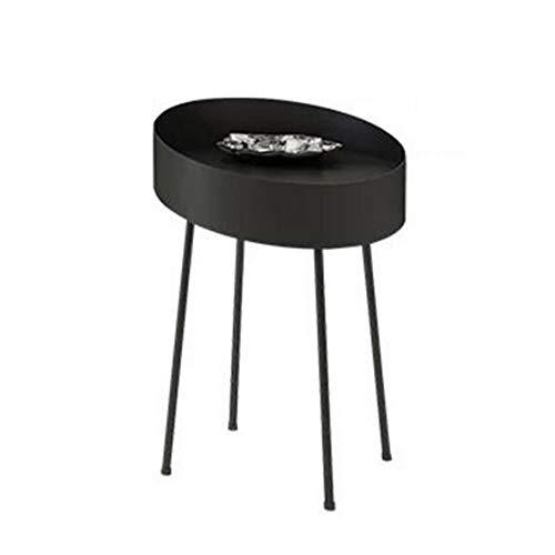 Xiaolin Art De Fer Table D'appoint Table Basse Ronde Parloir Table d'angle Conception De Prévention des Chutes Couleur, Taille en Option (Couleur : Noir, Taille : 40 * 58cm)