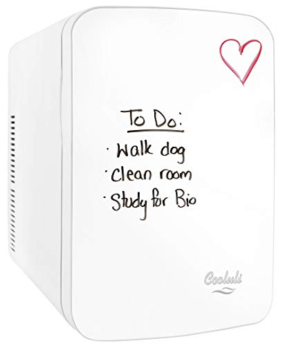 Cooluli Vibe Mini Fridge for Bedroom - With Cool Front Magnetic Whiteboard - 15L Portable Small Refrigerator for Travel, Car & Office Desk - Plug In Cooler & Warmer for Food, Drinks & Skincare (White)