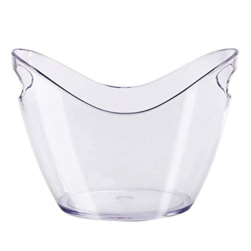 XiYou Cubitera Cubo de Hielo Champagne Enfriador de Vino Plástico acrílico Transparente Extra Grande para contenedor de Cola Puede Contener Dos Botellas Mango de Aislamiento frío portátil-8L
