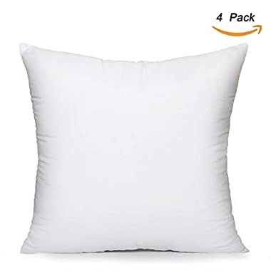 EVERMARKET Square Poly Pillow Insert, 18  L X 18  W, White (4)