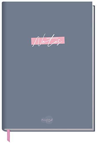 Notizbuch A5 liniert [Grau-Rosa] von Trendstuff by Häfft | 124 Seiten, 62 Blatt | ideal als Tagebuch, Bullet Journal, Ideenbuch, Schreibheft | nachhaltig & klimaneutral