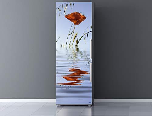 Pegatinas 3D Vinilo para Frigorífico Amapola en Agua | Varias Medidas 185x60cm | Adhesivo Resistente y de Fácil Aplicación | Pegatina Adhesiva Decorativa de Diseño Elegante