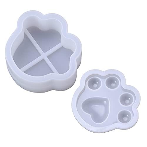 Molde de silicona de resina de cristal epoxi YUZI 1 Juego de molde de caja de almacenamiento de pata de perro para DIY decoración del hogar fabricación de joyas