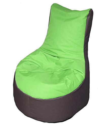 Quantum Interior Sitzsack stylischer Beanbag mit Lehne ca. 70x80x82 cm ca.240L Füllung zweifarbig (Kiwi/Grau)