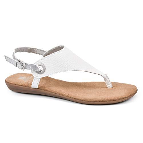WHITE MOUNTAIN Shoes London Women's Sandal, White/Tumbled SM, 8 M