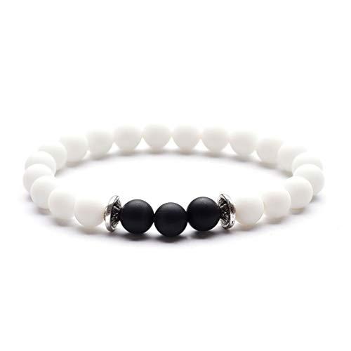 Yazilind Healing Power Perlen Stretch Armband 8mm Natur Vulkanstein Freundschaft Stretch Armband # 14