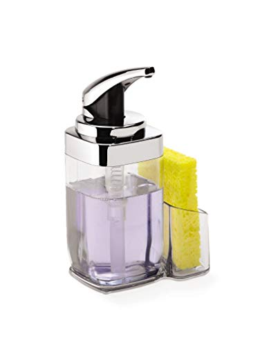 simplehuman Precision Lever Square Push Soap Pump With Removable Caddy, Chrome And Plastic, 22 fl. oz.