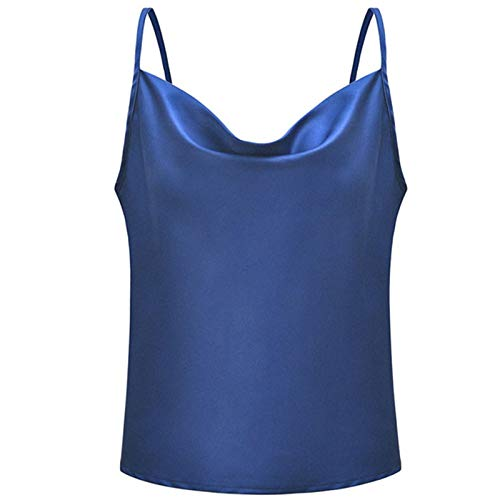 PFSCW Women Collar De Una Palabra Tank Tops Blusa Camisole, Mujer Sexy Verano Sin Mangas Top Chaleco Camiseta, Spaghetti Strap Azul Camiseta,XXL