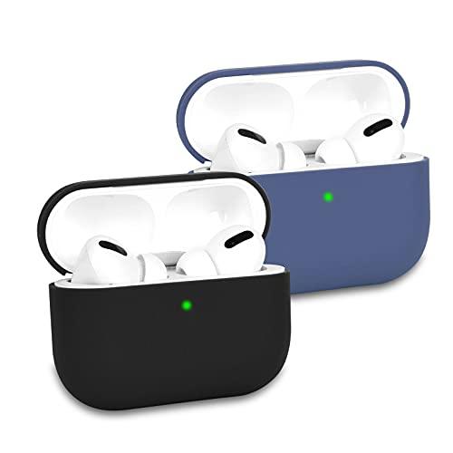 KOKOKA Coque Étui Protecteur Compatible avec AirPods Pro, Housse de Protection en Silicone Anti-Choc, Ultra-Mince, Souple, Antidérapant Etui de Protection pour Airpods Pro, Lot de 2, Noir/Dark Blue