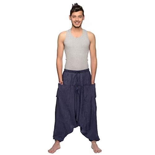 Haremshose Pumphose Aladinhose Pluderhose Yoga Goa Sarouel Baggy Freizeithose Singharaja Herren Farbe Blau, Größe One Size