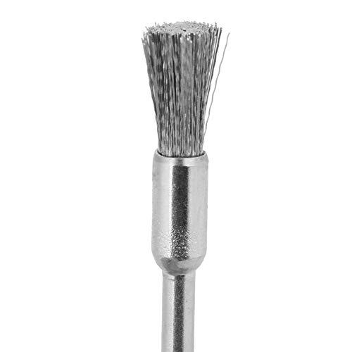 15pcs Acero 3mm Diámetro del vástago Cepillo de alambre Herramienta de pulido para metal, madera, limpieza de superficies de piedra(3 * 5mm)
