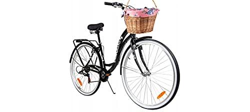 BDW Bicicleta de ciudad y trekking para mujer, de 28 pulgadas, para ciudad, trekking, 6 velocidades Shimano, cesta KOSTELNOS || negro ||