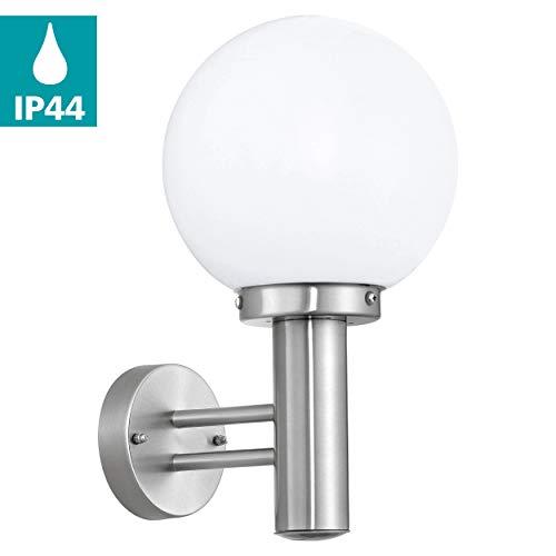 EGLO Außen-Wandlampe Nisia, 1 flammige Außenleuchte, Wandleuchte aus Edelstahl und Glas, Farbe: Silber, weiß, Fassung: E27, IP44