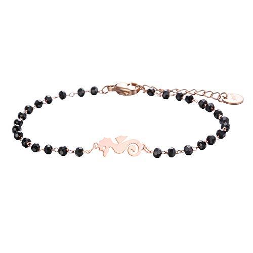 JinHan Pulsera para Mujer Pulsera de Animales Colgante de hipocampo Pulsera antialérgica Ajustable Cadena de Perlas Negras Encanto Regalo para niña o Madre Oro/Plata/Oro Rosa