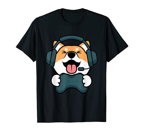 Gamer Hund Shiba Inu Gaming Zocken Nerd Lustig Kawaii Zocker T-Shirt
