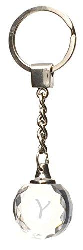 Porte clé Original Rond en Verre Lettre Y Porte clés pour Homme et Femme Personnalisé avec la Lettre Y. Cadeau gravé personnalisé nom ou prénom Y