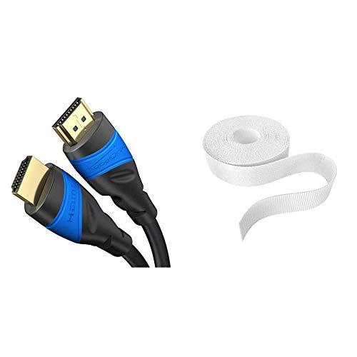 KabelDirekt 10m Cable HDMI 4K, compatible con HDMI 2.0a/b, 2.0, 1.4a, 4K Ultra HD, 3D, Full HD 1080p, HDR, PS4, XBOX, HDTV, TOP Series y KabelDirekt 20 mm x 5 m Abrazaderas para cable blanco
