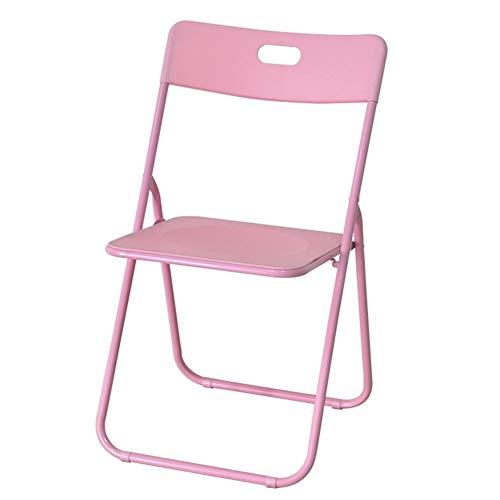 Draagbare vouwstoel, Fashion Woonkamer Slaapkamer Woonstoel Outdoor Zwart Frame Dikke Spons Eettafel Stoel, Zwart, Roze, wit
